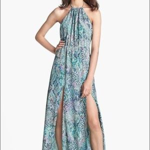 Lovers and friends green reptile print halter dres